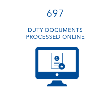 697 duty documents processed online per day