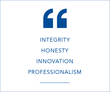 Integrity, honesty, innovation and professionalism